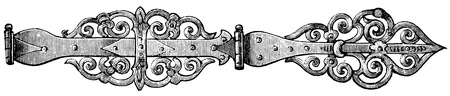 15th century: door hinges, Germany, 15th century - an illustration to article  Stock Photo