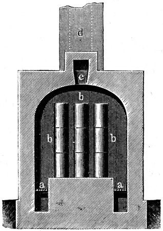 longitudinal: furnace for malleable cast iron, longitudinal section - an illustration to article
