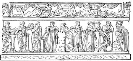 publishers: Muses: Clio, Thalia, Erato, Euterpe, Polimniya, Calliope, Terpsichore, Urania, Melpomene - a sarcophagus that is stored in the Louvre, Paris - an illustration of the encyclopedia publishers Education, St. Petersburg, Russian Empire, 1896