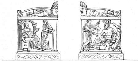 publishers: Socrates and Erato, Calliope and Homer - a sarcophagus that is stored in the Louvre, Paris - an illustration of the encyclopedia publishers Education, St. Petersburg, Russian Empire, 1896