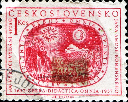 CZECHOSLOVAKIA - CIRCA 1957: A stamp printed in Czechoslovakia devoted 300th anniversary of the publication of  Stock Photo - 13257838