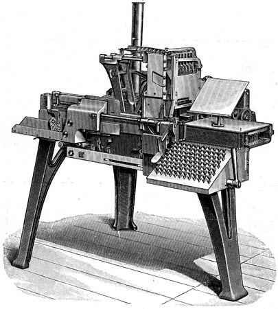Skudder typesetter - an illustration of the encyclopedia publishers Education, St. Petersburg, Russian Empire, 1896  Stock Photo - 13257846