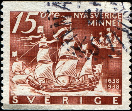 emigrant: SWEDEN - CIRCA 1938: A stamp printed in Sweden honoring 300th Anniversary of Founding of New Sweden, U.S.A., shows  Emigrant ships Calmare Nyckel and Fagel Grip, circa 1938