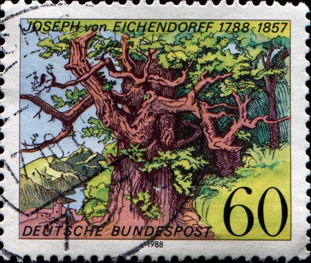 richter: GERMANY - CIRCA 1988  A stamp printed in Federal Republic of Germany honoring  Birth Bicentenary of Joseph von Eichendorff  writer , shows Solitude of the Green Woods  woodcut of poem, Ludwig Richter , circa 1988