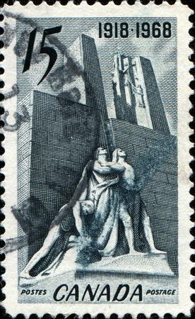armistice: CANADA - CIRCA 1968  A stamp printed in Canada honoring  50th Anniversary of 1918 Armistice, shows Armistice Monument, Vimy, circa 1968