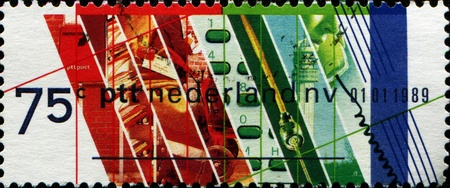 privatization: NETHERLANDS - CIRCA 1989  Stamp printed in Netherlands honoring Privatization of Netherlands PTT  Postal and Telecommunications Services, circa 1989 Stock Photo