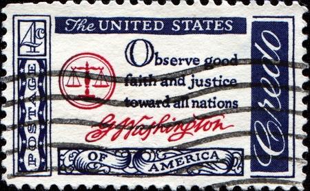 credo: USA - CIRCA 1960 : A postcard printed in the USA with text: Observe good faith and justice toward all nations, G.Washington - American Credo, circa 1960