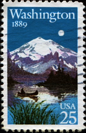 USA - CIRCA 1989: A Stamp printed in USA shows Landscape with Lake and Mount, Washington Statehood Centennial, circa 1989 Stock Photo - 13327510