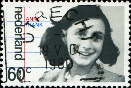 anne: NETHERLANDS - CIRCA 1980: A stamp printed in  Netherlands shows Anne Frank , circa 1980 Editorial