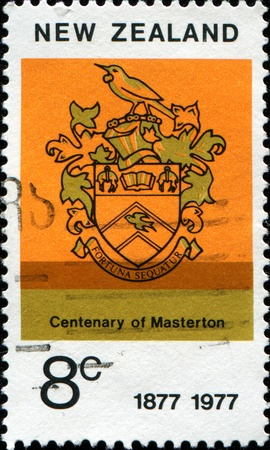 NEW ZEALAND - CIRCA 1977: A  stamp printed in New Zealand shows Coat of Arms of Masterton, circa 1977
