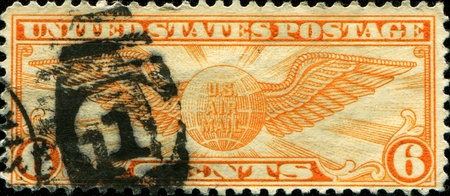 USA - CIRCA 1934: A Stamp printed in USA shows the Winged Globe, circa 1934  Editorial