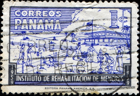 PANAMA - CIRCA 1959: A stamp printed in Panama honoring Youth Rehabilitation Institute, shows Children on Farm, circa 1959 photo