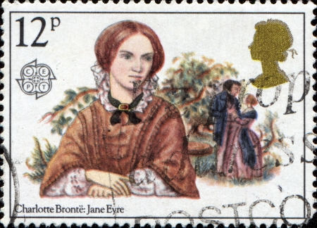 jane: GREAT BRITAIN - CIRCA 1980: A stamp printed in the Great Britain stamp features Charlotte Bronte (Jane Eyre), circa 1980