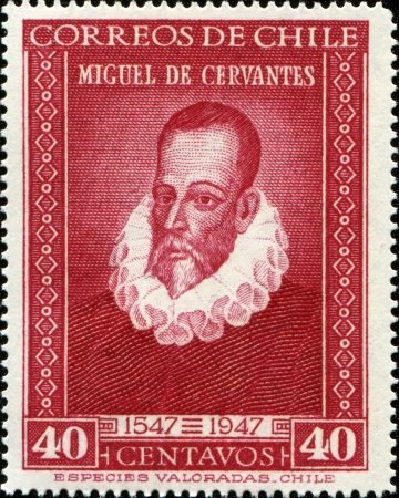 novelist: CHILE - CIRCA 1947: A stamp printed in Chile shows Miguel de Cervantes Spanish novelist, poet and playwright, circa 1947