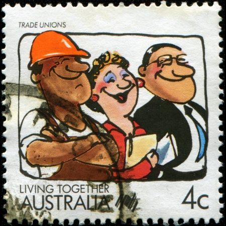 AUSTRALIA - CIRCA 1988  A stamp printed in Australia shows Living Together, celebrating Trade Unions, circa 1988 Stock Photo - 14093205