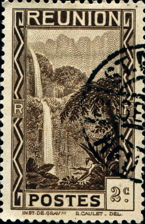 REUNION - CIRCA 1933  A stamp printed in Reunion shows Cascade  Salazie, circa 1933  photo
