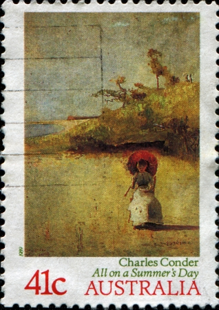 charles: AUSTRALIA - CIRCA 1989  A stamp printed in Australia shows paint by Charles Conder - All on a Summer Stock Photo