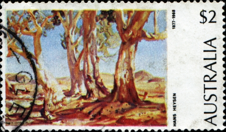eucalyptus: AUSTRALIA - CIRCA 1974: A stamp printed in Australia shows painting by Hans Heysen - River Red Gum (Eucalyptus camaldulensis), circa 1974  Stock Photo