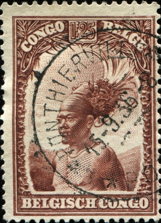 BELGIAN CONGO - CIRCA 1931: A stamp printed in Belgian Congo shows leopard, circa 1931  photo