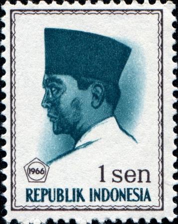 sukarno: INDONESIA - CIRCA 1965: A stamp printed in Indonesia shows Sukarno, born Kusno Sosrodihardjo was the first President of Indonesia, circa 1965