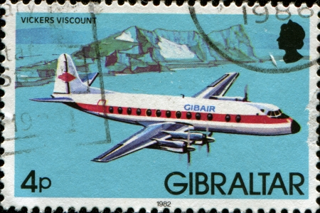 GIBRALTAR - CIRCA 1982: A stamp printed in Gibraltar shows Vickers Viscount, circa 1982 Stock Photo - 14093204