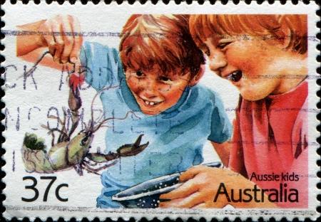 AUSTRALIA - CIRCA 2002: A stamp printed in Australia shows image of Aussie kids, series, circa 2002  Stock Photo - 14093575