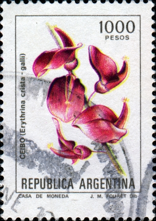 erythrina: ARGENTINA - CIRCA 1982: A stamp printed in the Argentina shows Coral Tree - Erythrina crista-galli, circa 1982