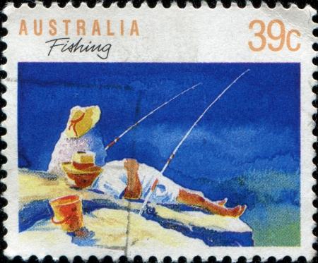 AUSTRALIA - CIRCA 1989: A stamp printed in Australia shows fishing, circa 1989