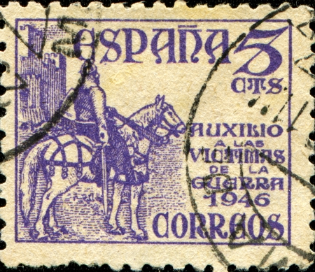 cid: SPAIN - CIRCA 1939: A stamp printed in the Spain, shows a national hero of Spains El Cid Campeador on a horse, circa 1939