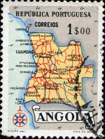 ANGOLA - CIRCA 1955: A stamp printed in Angola shows a map of Angola, circa 1955