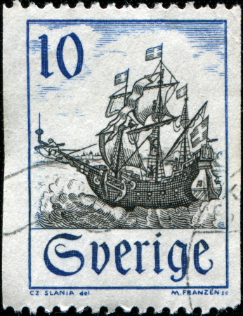 duotone: SWEDEN - CIRCA 1967: A stamp printed in  Sweden shows Svent Skepp, warship, circa 1967