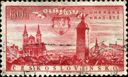 czechoslovakia: CZECHOSLOVAKIA - CIRCA 1957: A stamp printed in Czechoslovakia, shows town Uherske Hradiste, circa 1957