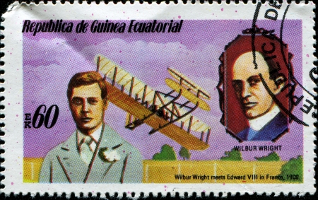 EQUATORIAL GUINEA - CIRCA 1979: A stamp printed in Equatorial Guinea shows Wilbur Wright meets Edward VIII in France, 1909, series, circa 1979 photo
