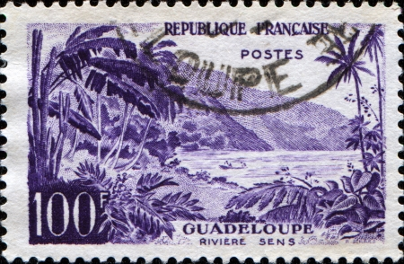 sens: GUADELOUPE - CIRCA 1957: stamp printed in Guadeloupe shows Sens river, circa 1957