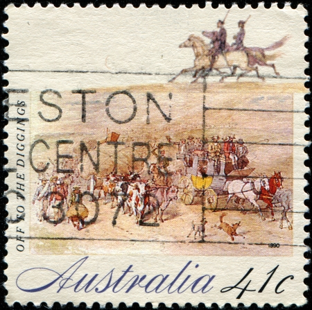 AUSTRALIA - CIRCA 1990: A stamp printed in australia shows Off to the Diggings, circa 1990  photo