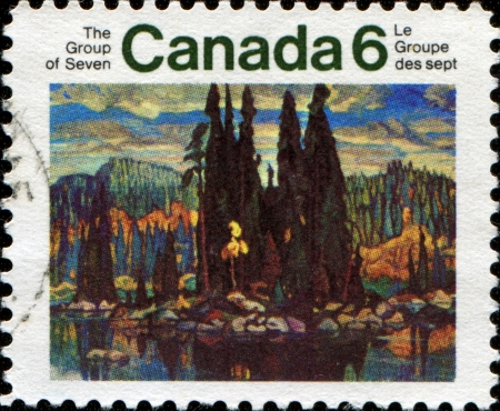 isles: CANADA - CIRCA 1970: A stamp printed in Canada shows paint by Arthur Lismer - Isles of Spruce, 1922, circa 1970