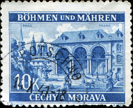 bohemia: BOHEMIA AND MORAVIA - CIRCA 1940: A stmp printed in  Bohemia and Moravia shows Wallenstein Palace, Prague, circa 1940