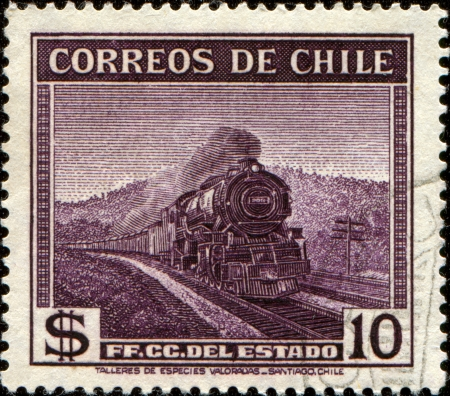 CHILE - CIRCA 1938: A stamp printed in Chile shows steam locomotive, the State Railway, circa 1938   photo