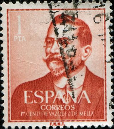 sello: SPAIN - CIRCA 1961: A stamp printed in Spain issued for the birth Centenary of Juan Vazquez de Mella shows politician and writer Vazquez de Mella, circa 1961