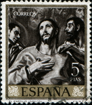 greco: SPAIN - CIRCA 1961: A stamp printed in Spain shows paint The Spoliation by El Greco, circa 1961 Stock Photo