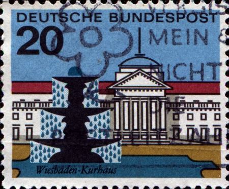bundespost: FEDERAL REPUBLIC OF GERMANY - CIRCA 1964: A stamp printed in the Federal Republic of Germany shows Wiesbaden, Kurbaus, circa 1964