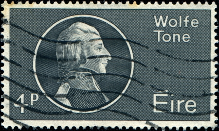founding: IRALEND - CIRCA 1964: A stamp printed in Ireland honoring Wolfe Tone Bicentenary , who was a leading Irish revolutionary figure and one of the founding members of the United Irishmen and is regarded as the father of Irish Republicanism