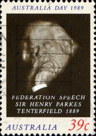 AUSTRALIA - CIRCA 1989  A stamp printed in Australia shows Sir Henry Parkes Tenterfield, circa 1989