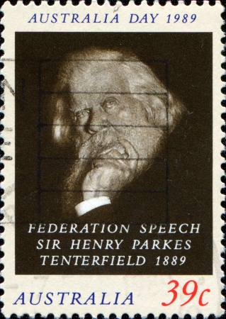 federation: AUSTRALIA - CIRCA 1989  A stamp printed in Australia shows Sir Henry Parkes Tenterfield, circa 1989