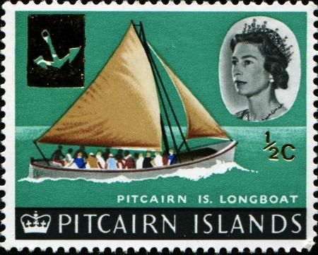 pitcairn: PITCAIRN ISLANDS - CIRCA 1964  A stamp printed in Pitcairn islands shows Pitcairn Islands longboat, circa 1964