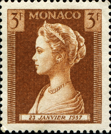MONACO - CIRCA 1957   A stamp printed in Monaco shows Princess Grace, circa 1957  Stock Photo - 14147185
