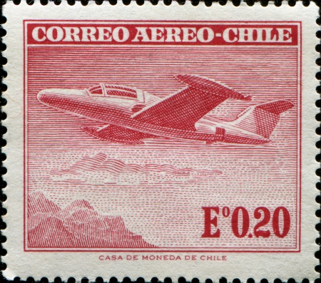 CHILE - CIRCA 1955  A stamp printed in Chile, shows Morane Saulnier Paris I, circa 1955  Stock Photo - 14147190