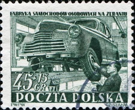 POLAND - CIRCA 1950  A stamps printed in Poland, shows car manufacture,  circa 1950