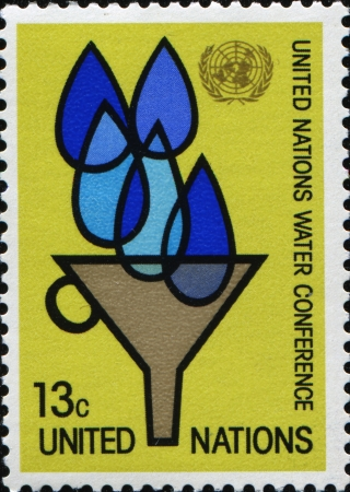 un: UN CIRCA 1977  A stamp printed in United Nations, New York Headquarters honoring UN Water Conference, circa 1977 Editorial