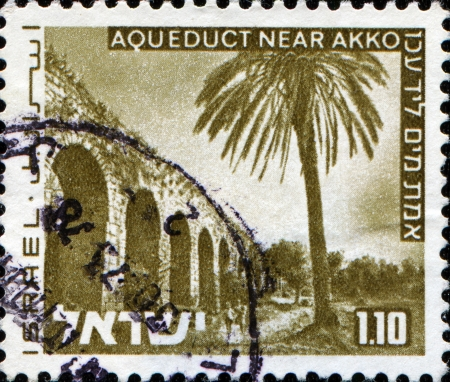 akko: ISRAEL - CIRCA 1971  A stamp printed in  Israel  shows aqueduct near Akko, Landscapes of Israel series, circa 1971  Editorial